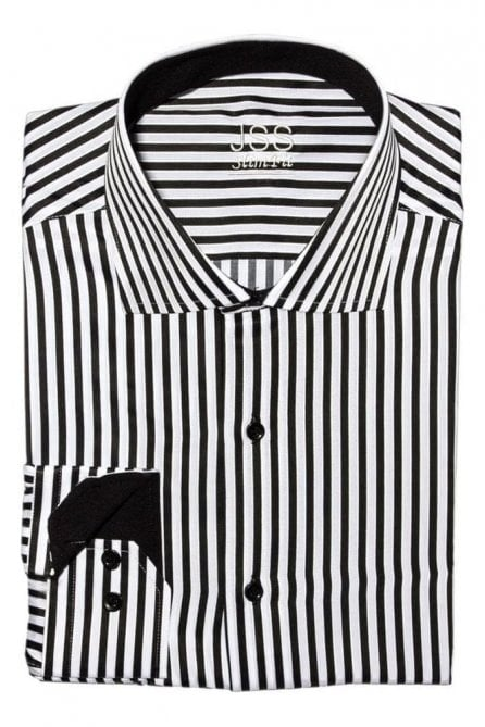 Striped Black & White Slim Fit Shirt