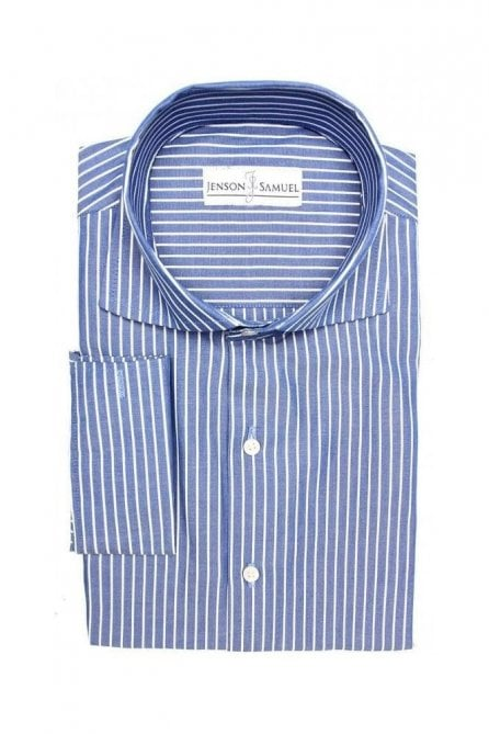 Striped Blue Regular Fit Cotton Shirt with White Pin Stripe and Cut Away Collar
