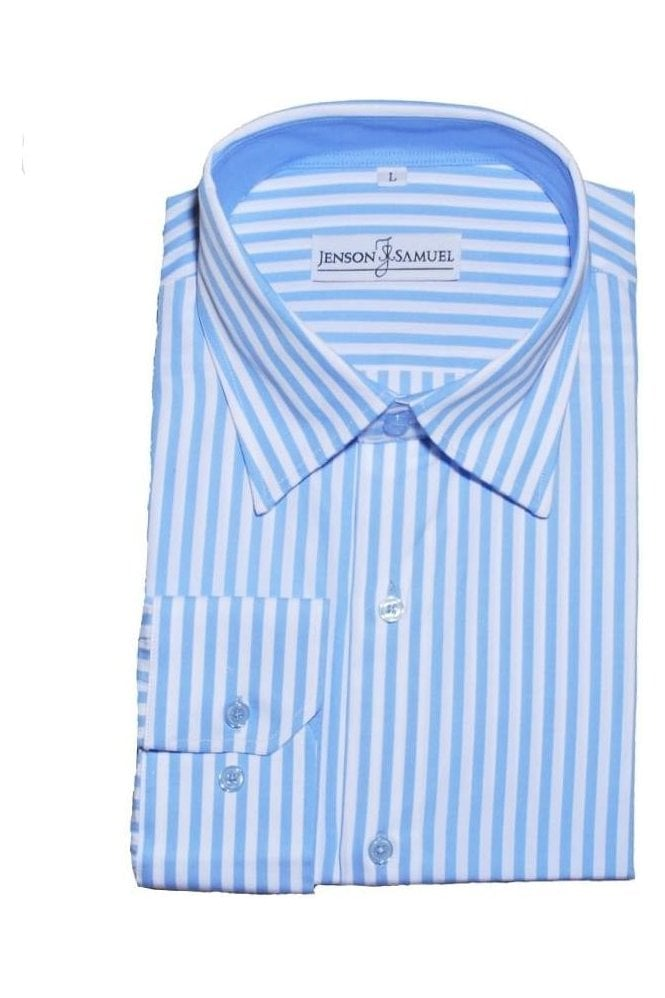 JSS Striped Blue & White Regular Fit 100% Cotton Shirt