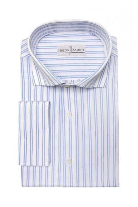 Striped Blue & White Regular Fit Cotton Shirt with Cut Away Collar