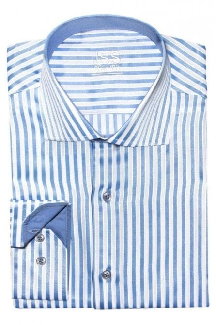 Striped Blue & White Slim Fit Shirt