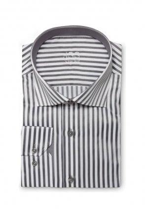 Striped Grey & White Slim Fit Shirt