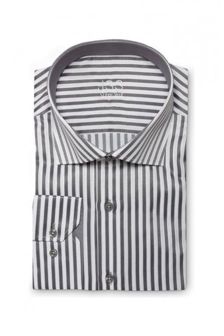Striped Grey & White Slim Fit Shirt