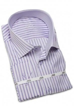 Striped Lilac & White Slim Fit Shirt