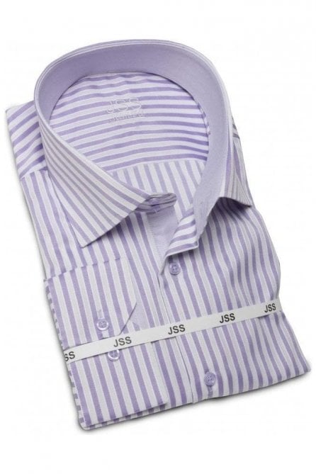 Striped Lilac & White Slim Fit Shirt
