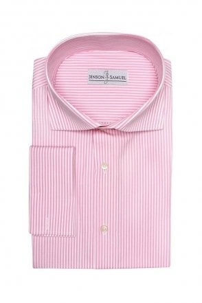 Striped Pink Regular Fit Cotton Shirt with Cut Away Collar