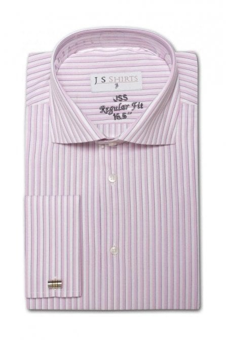 Striped Pink & White Regular Fit Cotton Shirt with Cut Away Collar