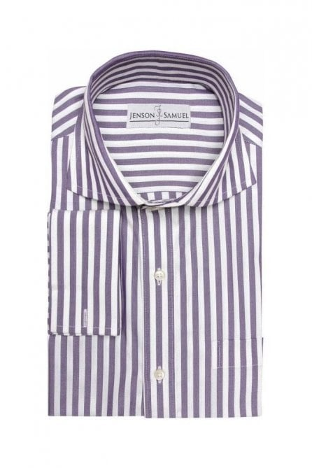 Striped Purple Regular Fit Cotton Shirt with Cut Away Collar