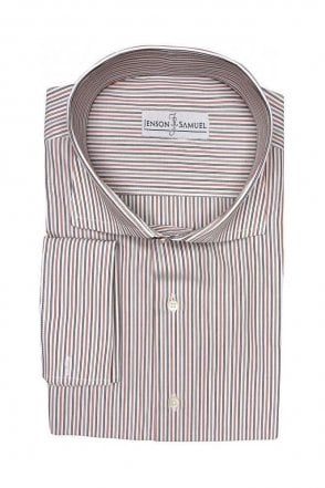 Striped Red & Grey Regular Fit Cotton Shirt with Cut Away Collar