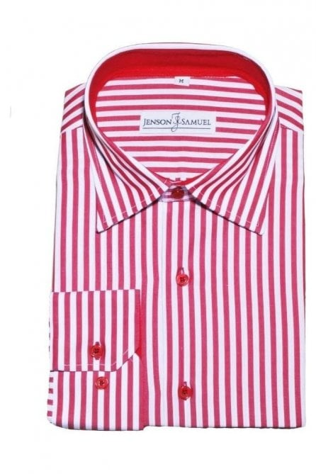 Striped Red & White Regular Fit 100% Cotton Shirt
