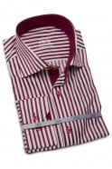 JSS Striped Red & White Slim Fit Shirt