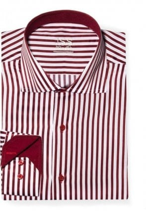 Striped Red & White Slim Fit Shirt
