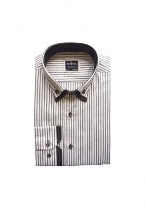 Striped White & Grey Slim Fit Shirt Double Collared