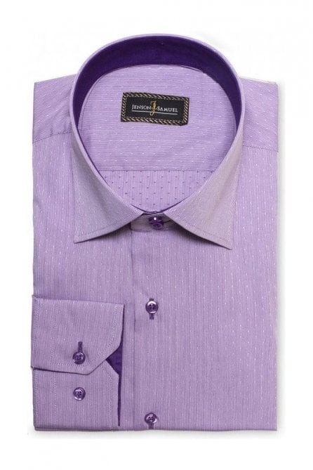 Textured Dot Lilac Slim Fit Shirt