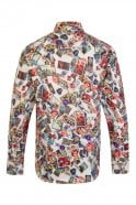 JSS Travel Stamp Print White Regular Fit 100% Cotton Shirt