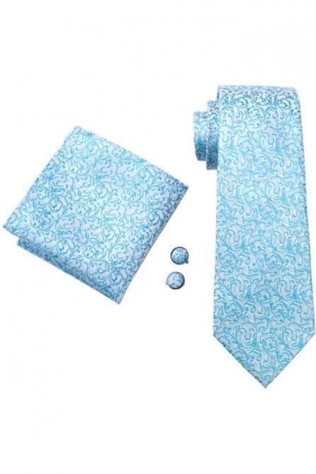 Turquoise Blue floral patterned pocket square, Cufflink and wedding tie set