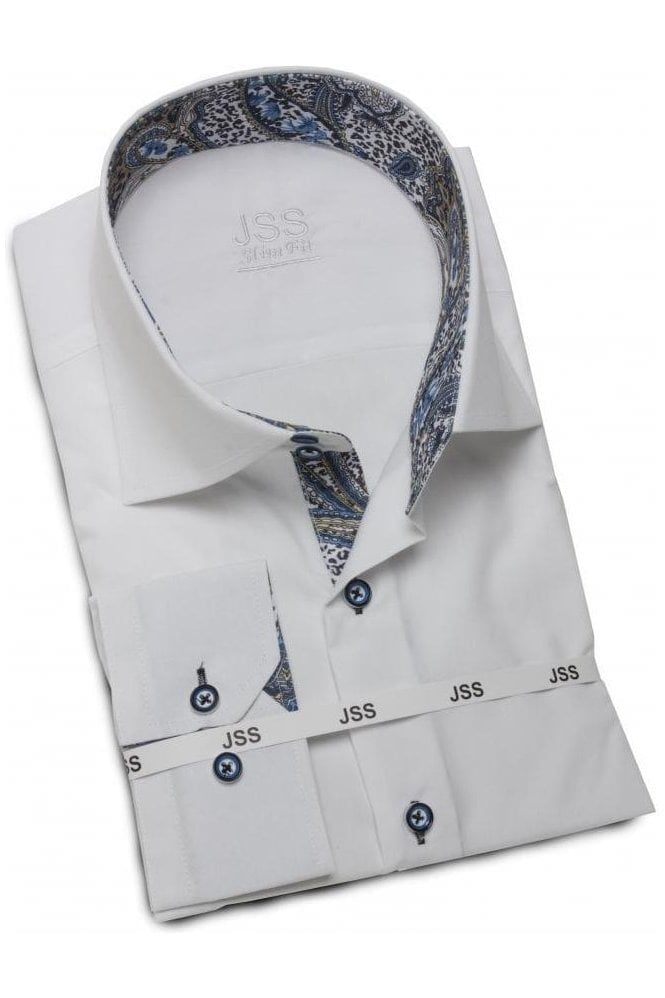 Mens white paisley contrast collar cuffs dress shirt for Mens dress shirts with contrasting collars and cuffs