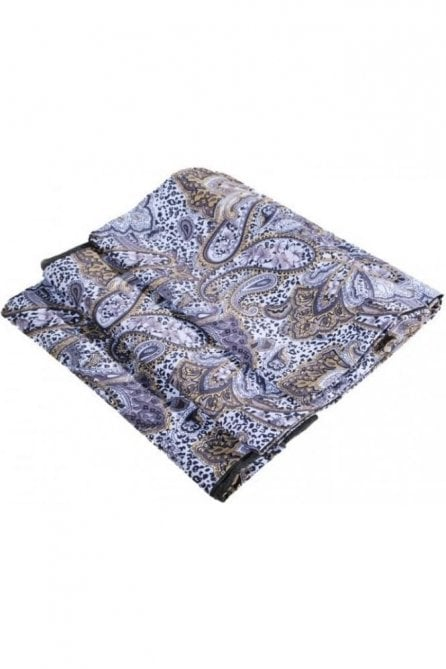 White & gold floral silk wool scarf