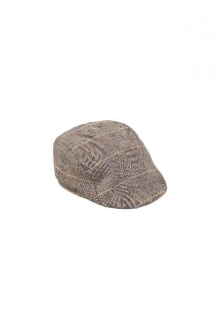 Marc Darcy Blake Tan Tweed Flat Cap