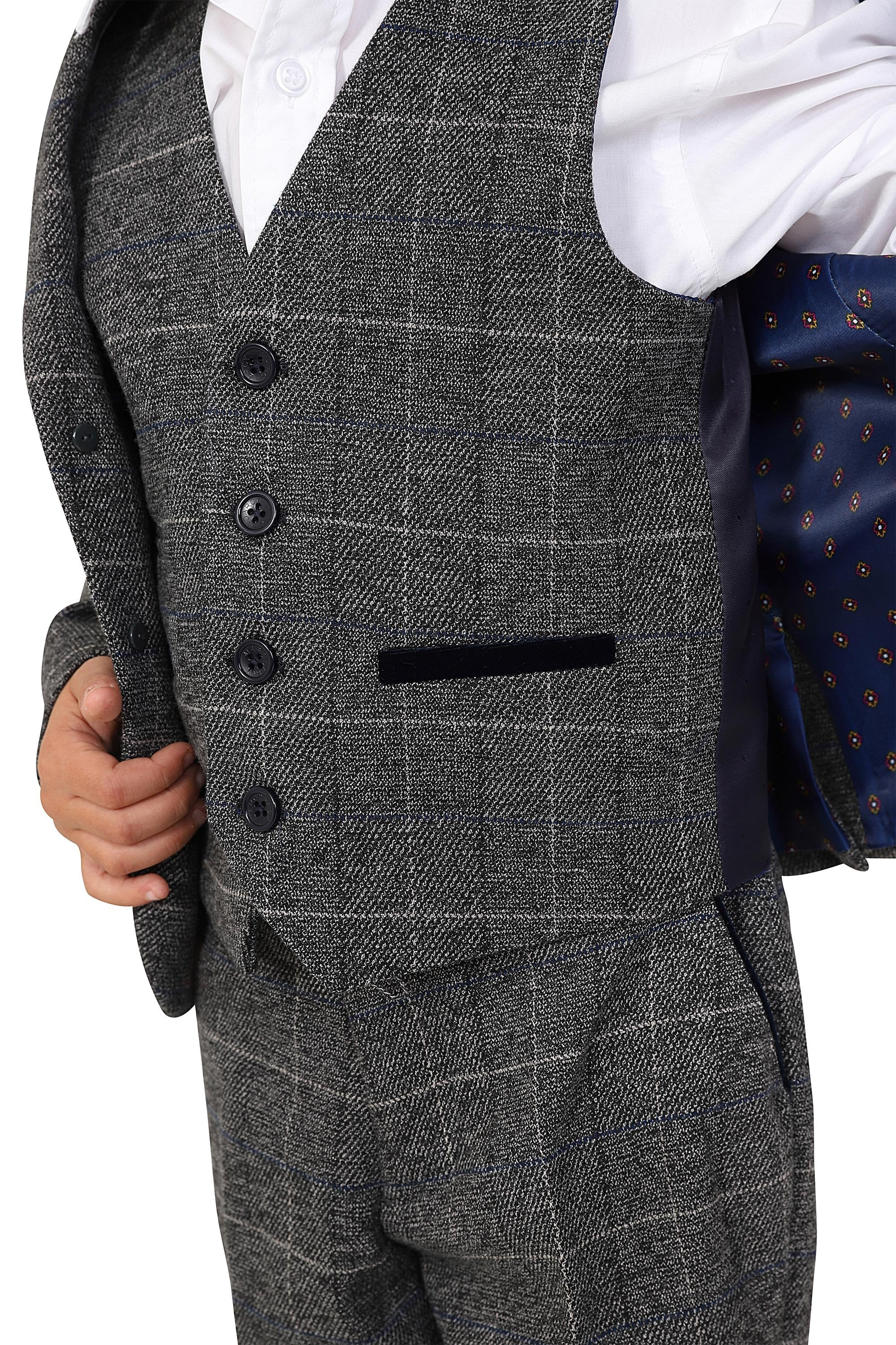 Boys Scott Grey Check Tweed Three Piece Suit