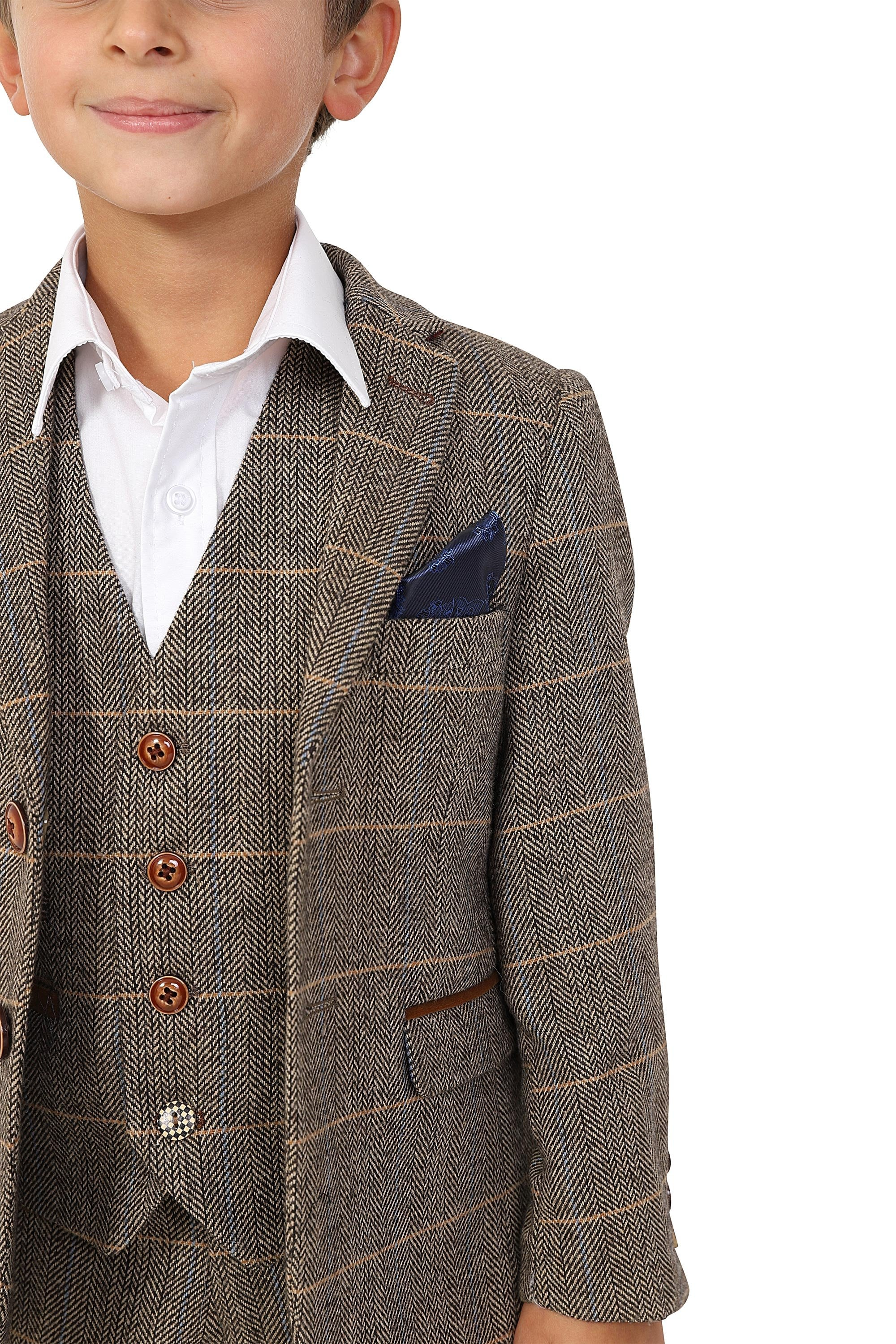 Boys Ted Tan Check Tweed Three Piece Suit