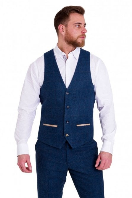Marc Darcy Dion Blue Vintage Check Tweed Waistcoat