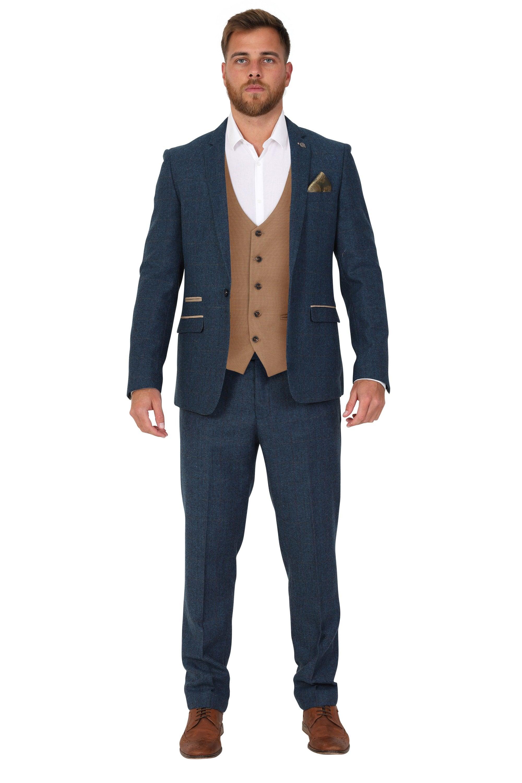 Mens Marc Darcy Tweed Blazer Waistcoat Trousers Slim Fit Vintage Style Wedding