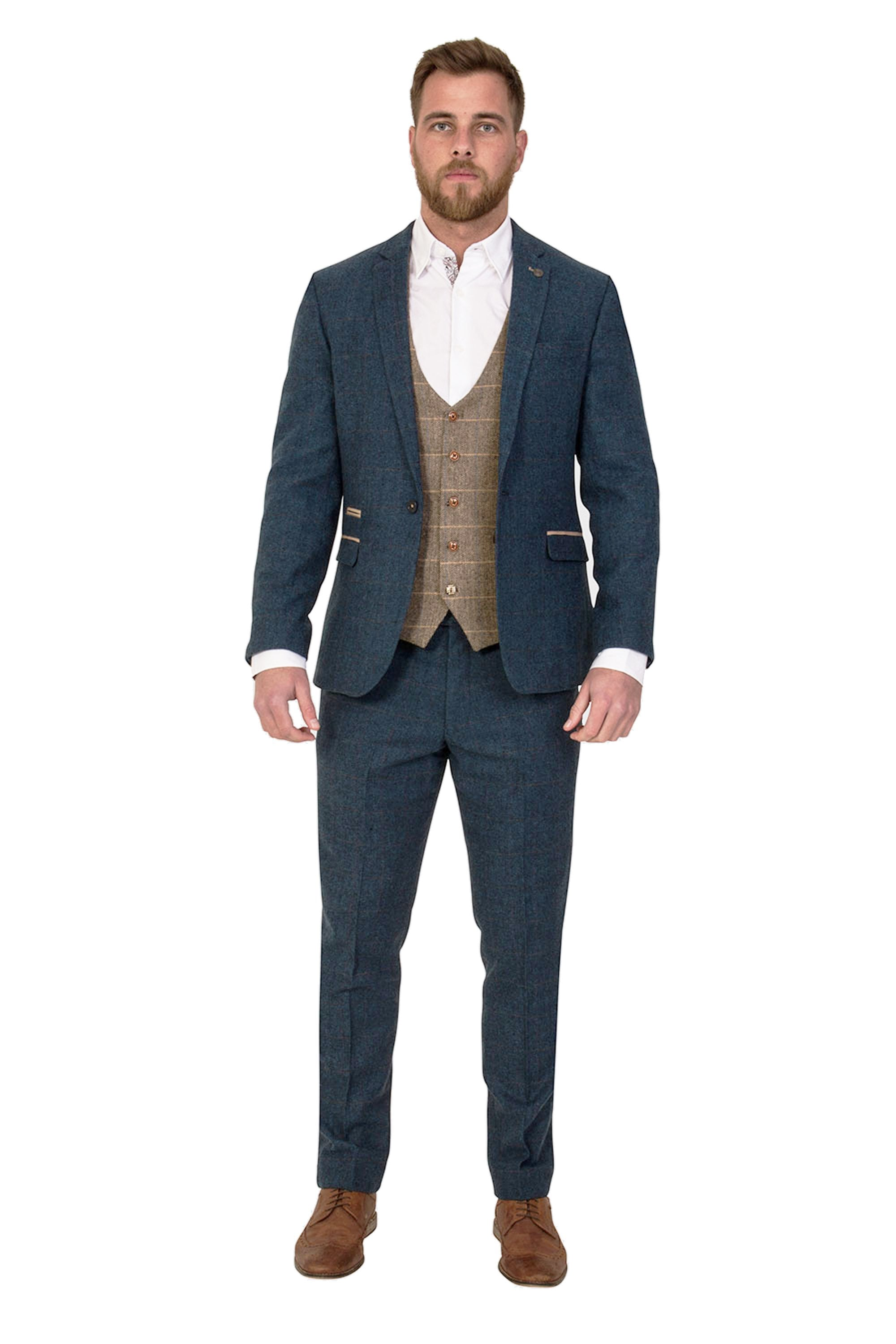8e4ef3cb6cd9 Marc Darcy Dion Blue Vintage three piece Tweed Suit with Ted Waistcoat  Bundle