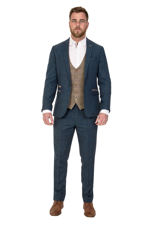 dec1b4ed112b Dion Blue Herringbone three piece Tweed Suit with Ted Waistcoat