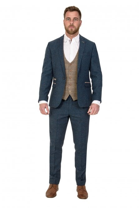 Dion Blue Vintage three piece Tweed Suit with Ted Waistcoat