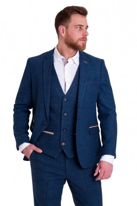 Dion Blue Vintage Tweed Suit Blazer