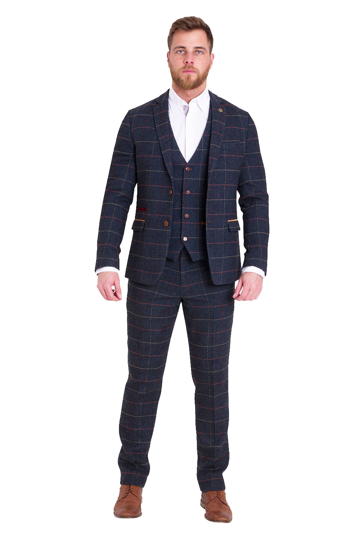Eton Navy Check Tweed Three Piece Wedding Suit