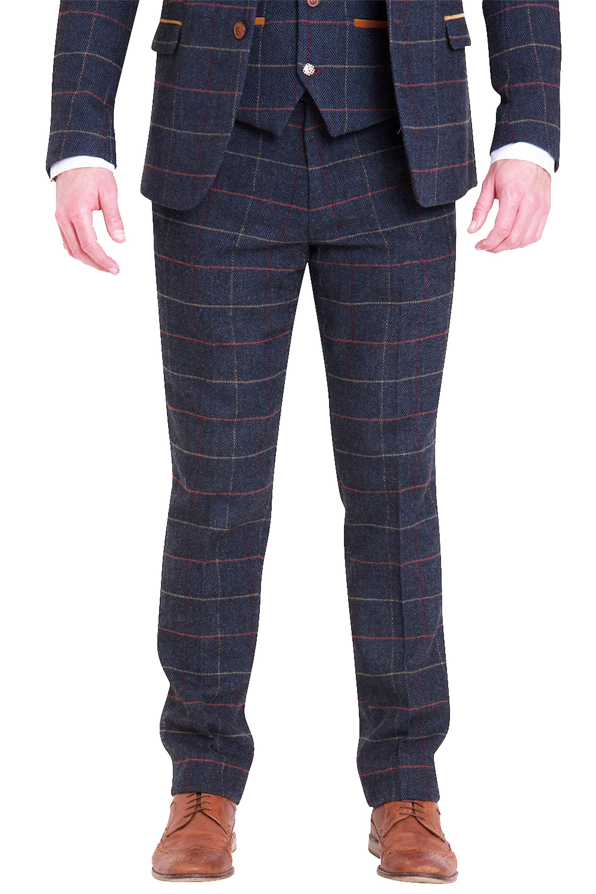e54c2f363023 Eton Navy Check Tweed Three piece wedding suit