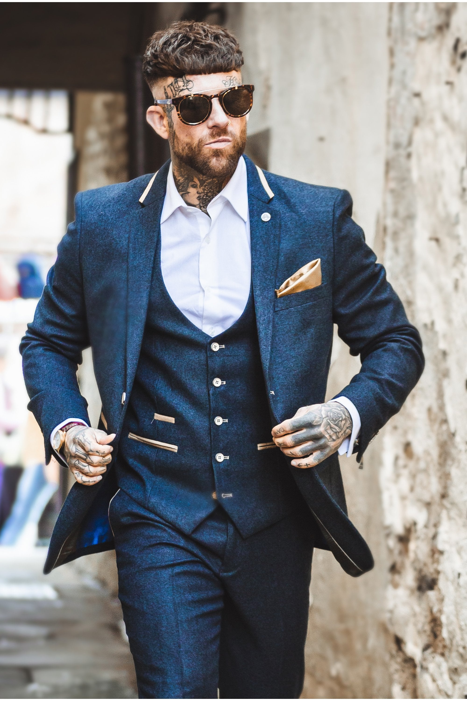 ce267882d Glen Navy Blue Tweed Suit Jacket