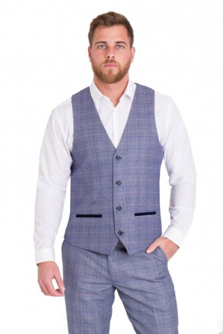 Marc Darcy Harry Single breasted Blue Check Tweed Waistcoat