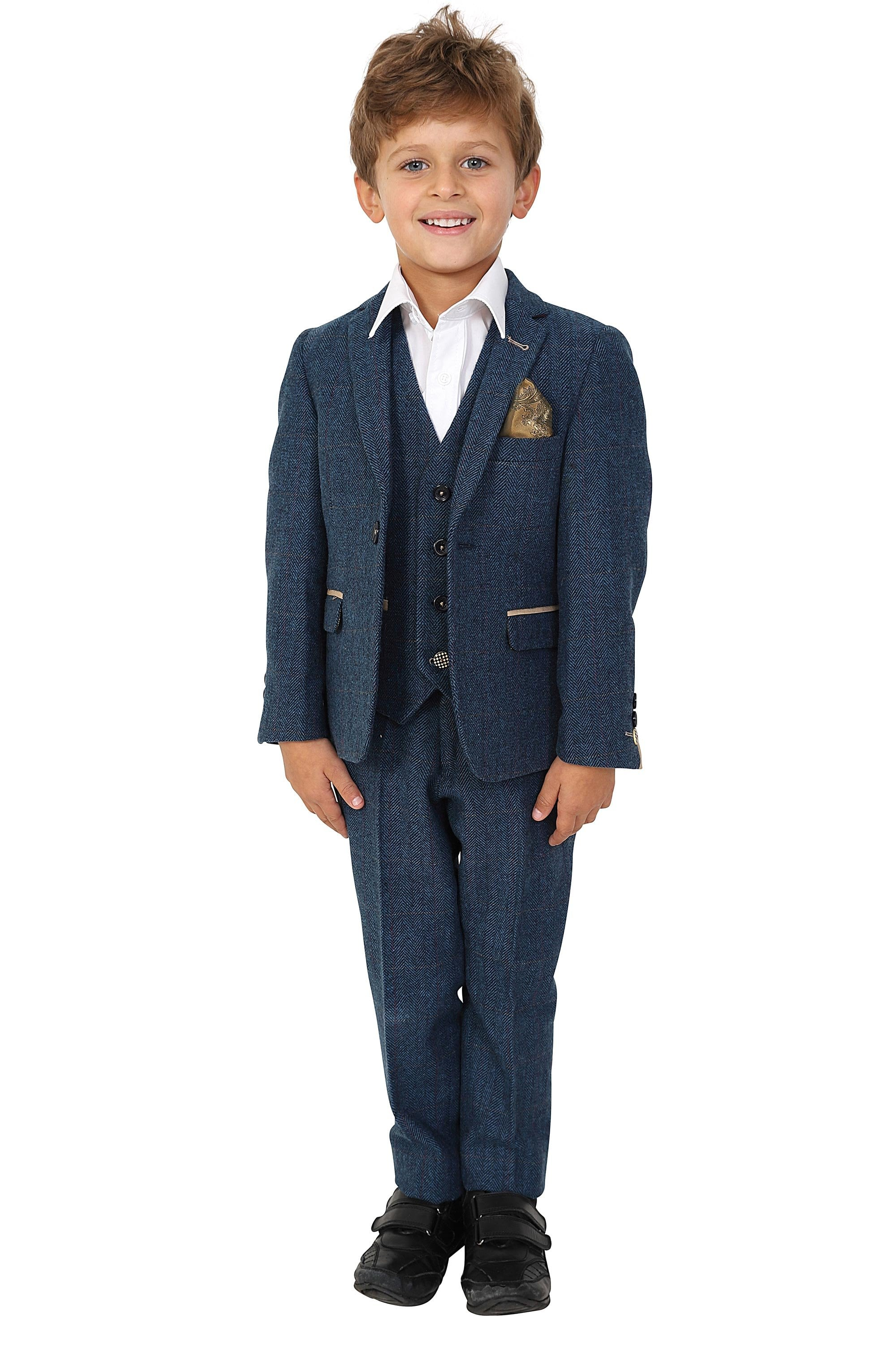 Marc Darcy Eton Blue Tweed Check Suit for Kids Children Size 7 for 7 Years Old