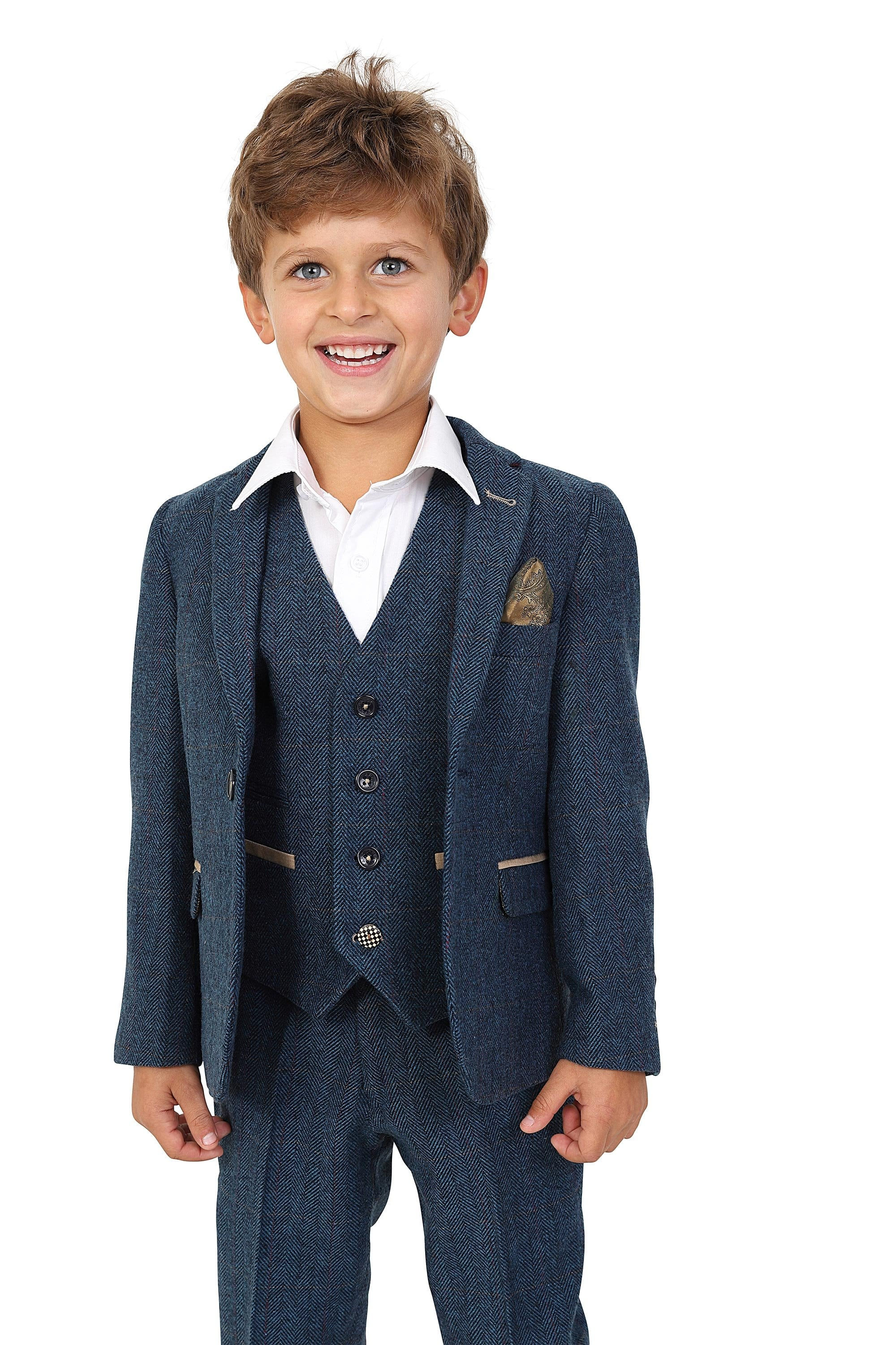 stable quality official shop for genuine Marc Darcy Kids Boys Dion Blue Check Tweed Three piece Suit