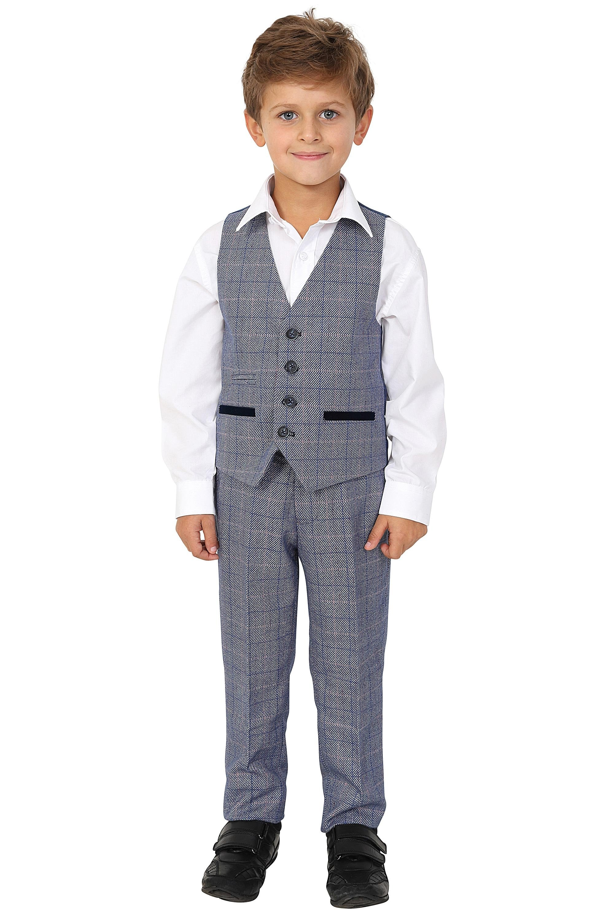 limited guantity drop shipping most desirable fashion Marc Darcy Kids Boys Hilton Blue Check Tweed Three piece Suit