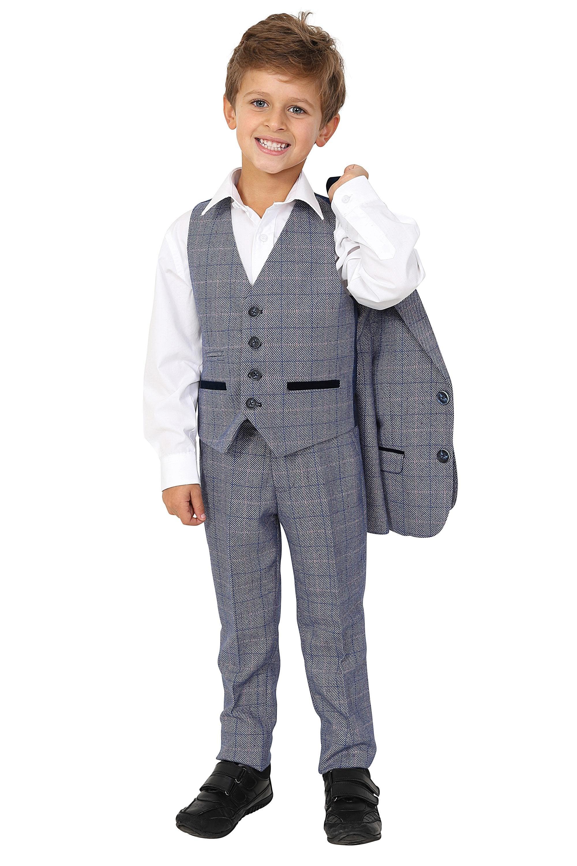 Marc Darcy Kids Boys Hilton Blue Check Tweed Three piece Suit
