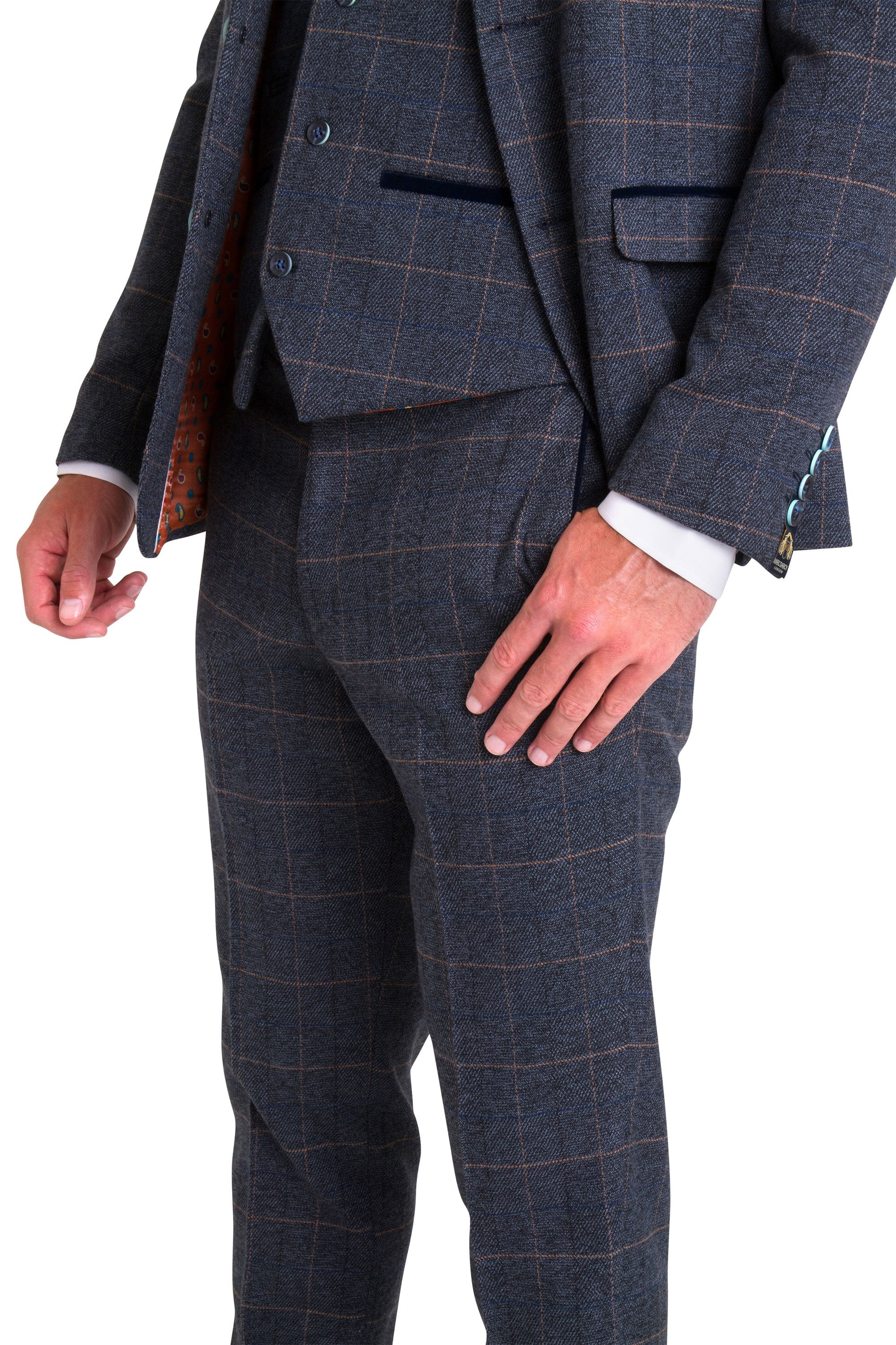 Marc Darcy Scott Blue Tweed Three Piece Suit Suits From Jenson
