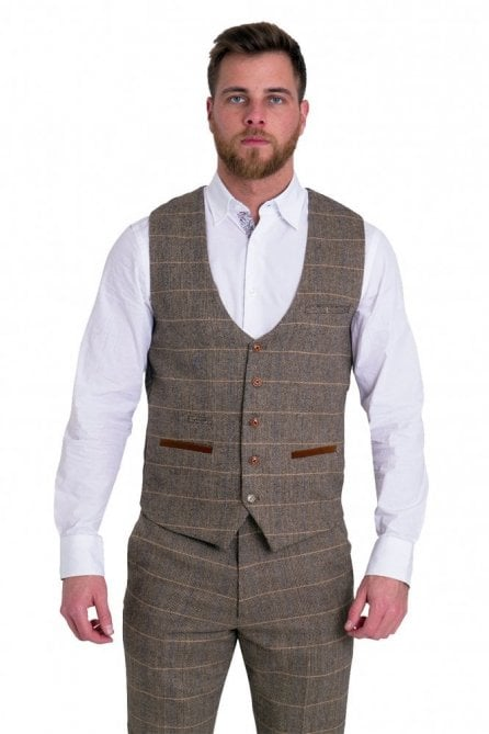 Marc Darcy Ted Tan Check Tweed Waistcoat