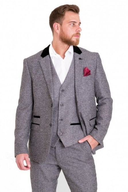 Victor Grey Tweed Suit Blazer with Velvet contrast