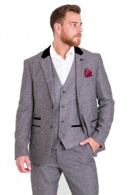 Victor Grey Tweed Suit Blazer with Velvet contrast