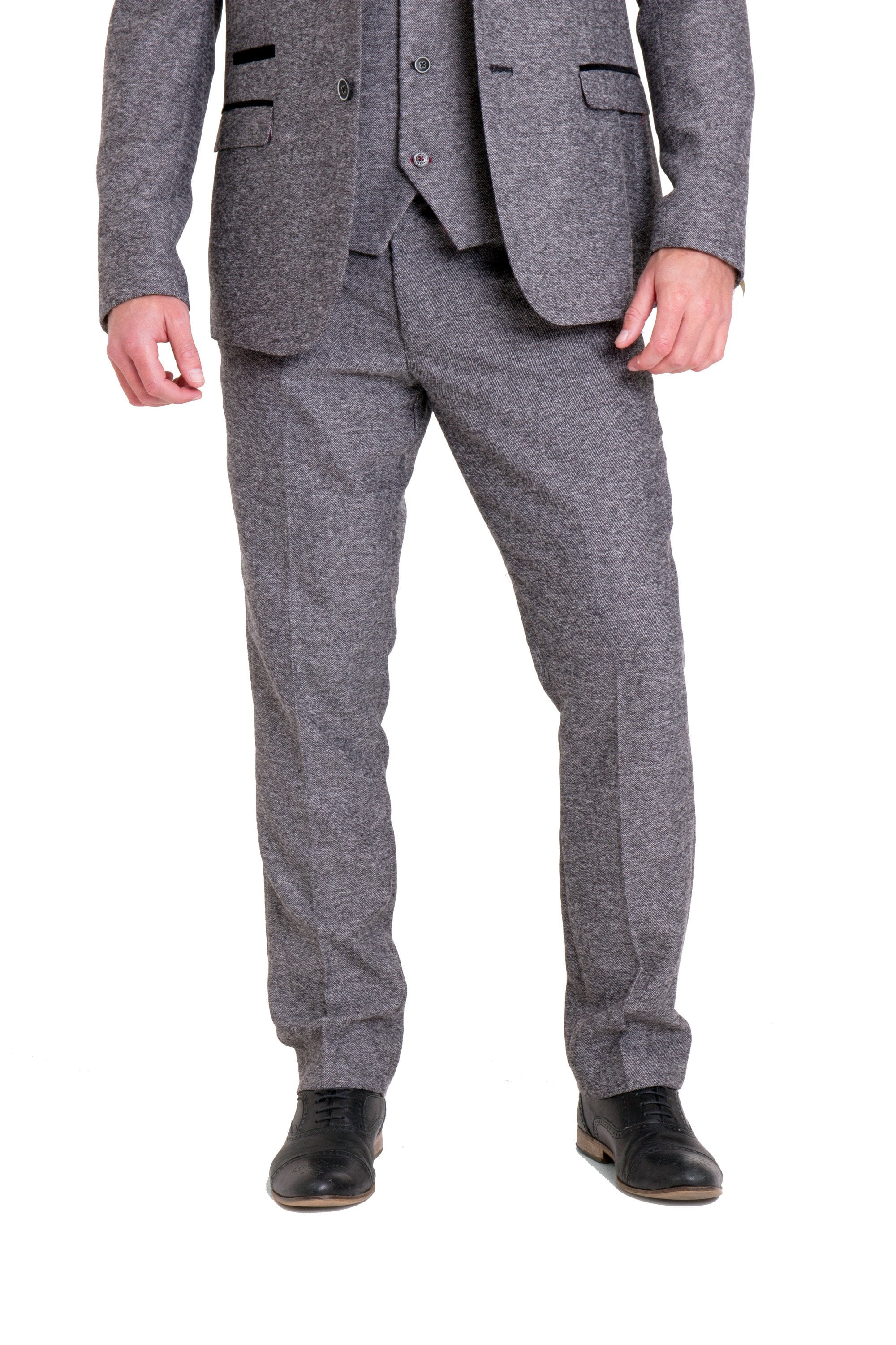Victor Grey Tweed Suit Blazer With Velvet Contrast Three Piece