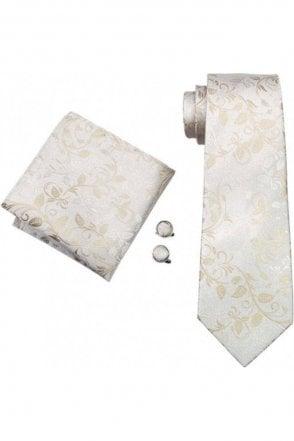 White & ivory paisley silk neck wedding tie, pocket square & cufflink set